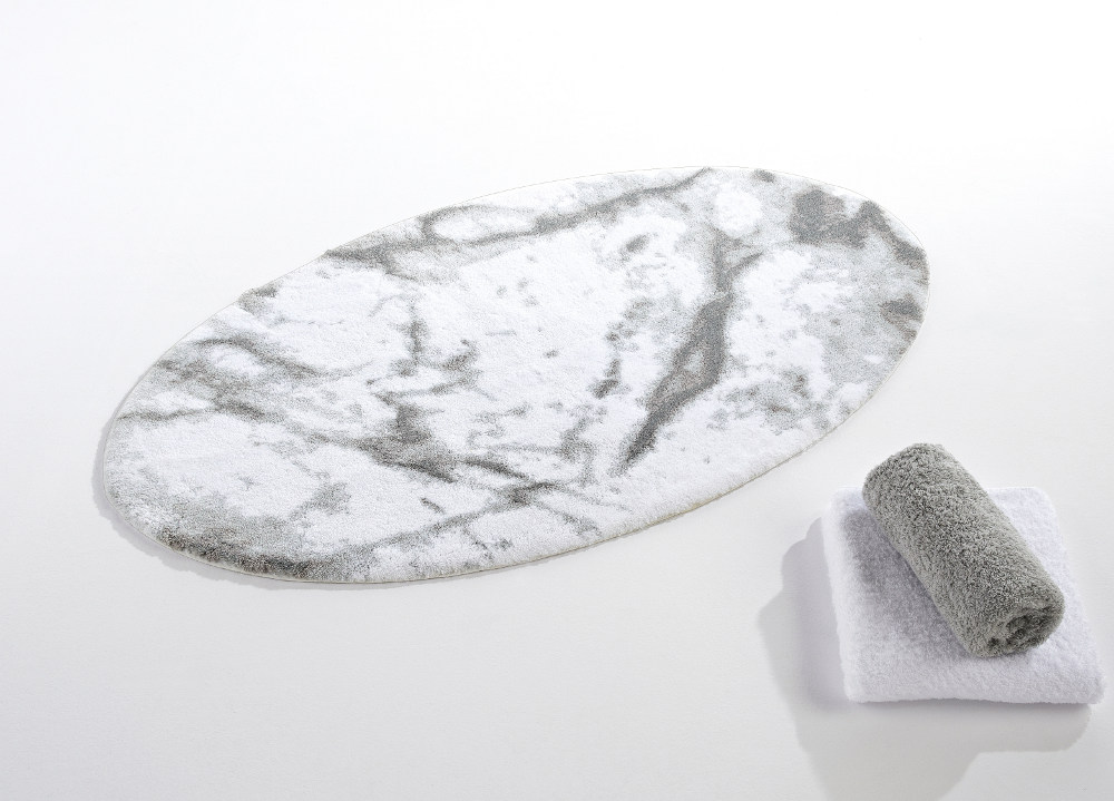 Wonderful Abyss Habidecor Carare White U0026 Grey Marble Look Bath Rugs