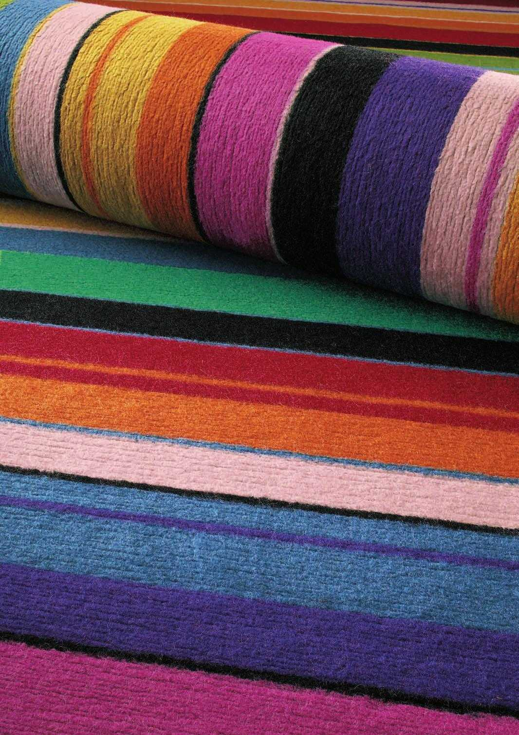 Details About Colourful Pink Orange Blue Green Purple Modern Stripe  Handmade Thick Wool Rug UK
