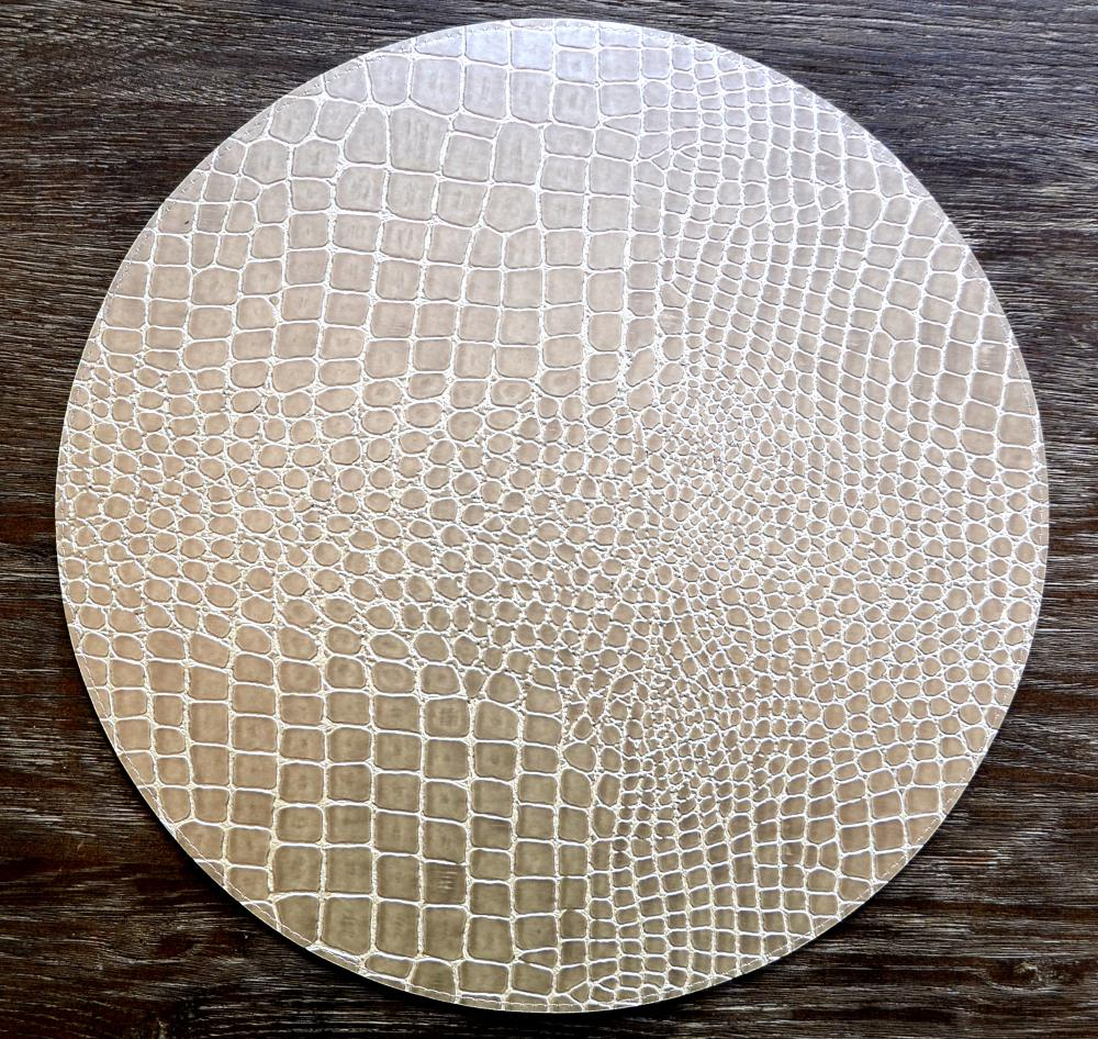 Leather placemats Round singapore runners Champagne Name: Placemats Pearl and table Faux Alligator