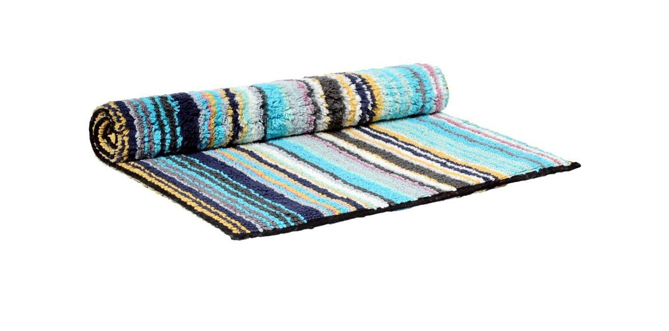 Missoni Home Jazel 170 Turquoise Blue Striped Bath Rug. Home Jazel 170 Turquoise Blue Striped Bath Rug