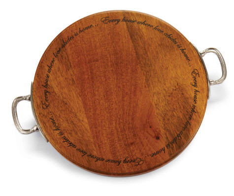 round wood cutting board with pewter finish handles,