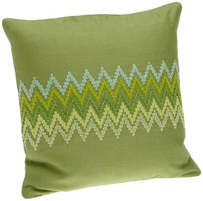 1891 by Sferra Celebrity Apple Green Linen Zig Zag Pillow