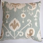 Aqua Blue & Creamy White Ikat Decorative Pillow