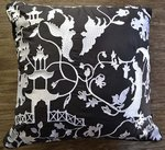 Black and White Oriental Scene Decorative Pillow