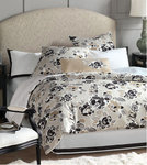 Grey, White and Tan Floral King Bedding Set