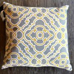 Grey & Yellow Decorative Pillow, 19x19