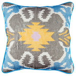 Ikat Pillow in Blue, Yellow, Grey