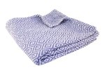 Lavender Purple & White Cotton Throw Blanket with Diamond Pattern