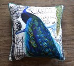 Peacock Bird Pillow in Blue, Black and White