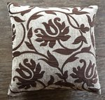 SDH Salon Stencil Brown Floral Decorative Pillow