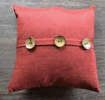 Textured Pomegranate Red Throw Pillow with Button Accent