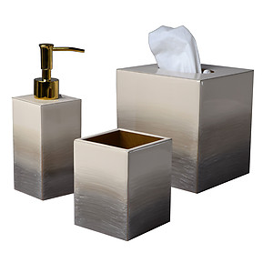 Mike and Ally Ombre Natural and Gold Enamel Bath Accessories