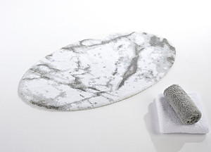 Abyss Habidecor Carare White & Grey Marble Look Bath Rugs