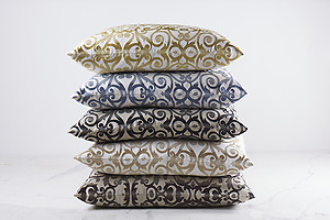 Scroll Pattern Linen Pillows & Throw - Ann Gish Flourish