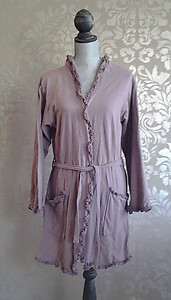 Bella Notte French Terry Amethyst Purple Ruffled Cotton Robe