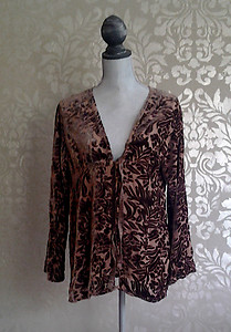 Bella Notte New Primrose Fawn Brown Floral Velvet Jacket