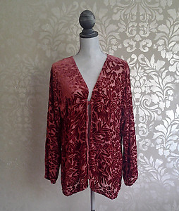 Bella Notte New Primrose Tuscan Red Floral Velvet Jacket