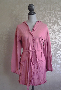 Bella Notte French Terry Ruby Pink Ruffled Cotton Robe