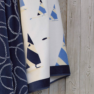 Blue and White Sailboat Pattern Nautical Beach Towel - Lulu DK Regatta
