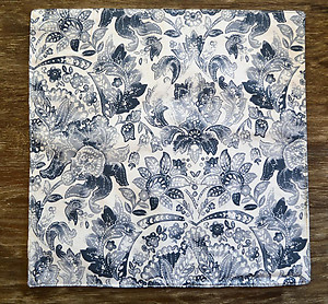 Nicole Miller Blue & White Square Cotton Placemats