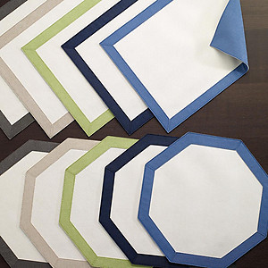 Bodrum Bordino Periwinkle Blue White Octagon Easy Care Place Mats - Set of 6