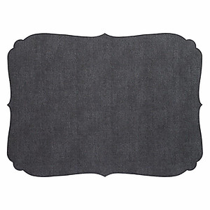 Bodrum Curly Charcoal Grey Oblong Easy Care Placemats - Set of 6