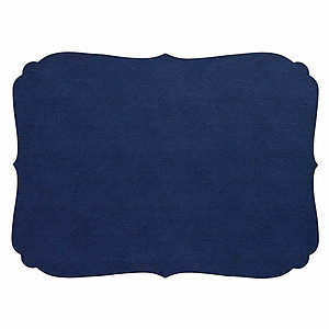 Bodrum Curly Navy Blue Oblong Easy Care Placemats - Set of 6