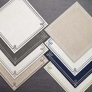 Bodrum Link Oatmeal White Square Easy Care Placemats - Set of 4