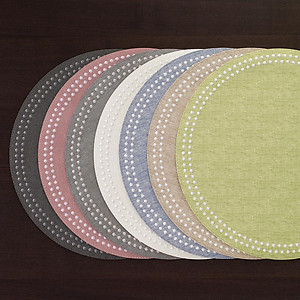 Bodrum Pearls Fern Green and White Round Easy Care Placemats - Set of 4