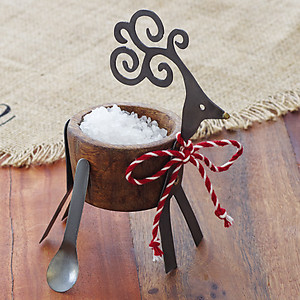 Carved Wood & Metal Deer Salt Cellar with Spoon