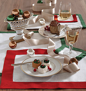 Sferra Filetto Two Tone Linen Placemats & Napkins