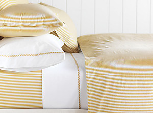Golden Tan & White Striped Duvet Cover & Sheets - Barclay Butera Newman Bisque