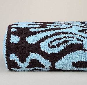 Kashwere Damask Tender Blue and Chocolate Throw Blanket