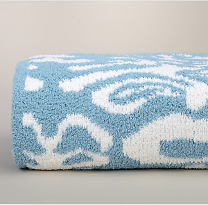 Kashwere Damask Tender Blue and Cream Throw Blanket