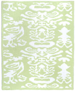 Kashwere Half Throw Blanket Damask Green Apple and White