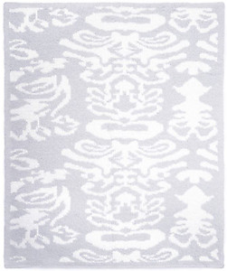Kashwere Half Throw Blanket Damask Baby Blue and White