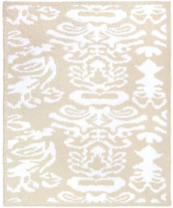 Kashwere Half Throw Blanket Damask Malt and White