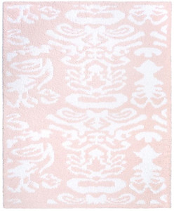 Kashwere Half Throw Blanket Damask Pink and White