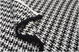 Kashwere Half Throw Blanket Houndstooth Black and Cream