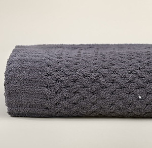 Slate Gray Basket Weave Throw Blanket - Kashwere
