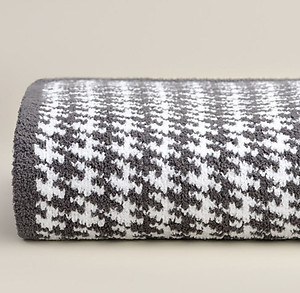 Houndstooth Pattern Throw Blanket - Kashwere Slate Grey and White