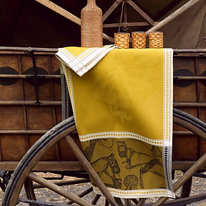 Le Jacquard Francais Manege Straw Yellow Cotton Equestrian Table Linens