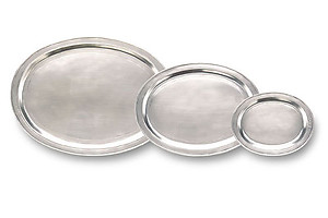 Match Pewter Oval Incised Trays, 4 Sizes