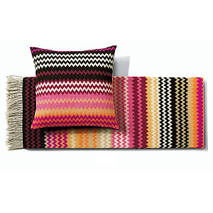 Missoni Humbert Color T59 Pink & Black  Wool Throw Blankets & Pillows