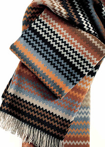 Missoni Humbert Color T60 Brown & Grey Wool Throw Blankets & Pillows