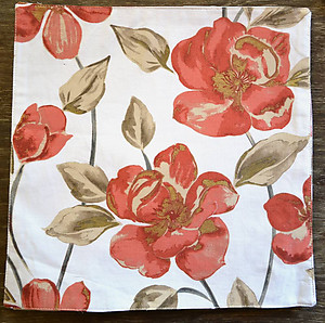 Nicole Miller Floral Square Cotton Placemats - Coral & Gold