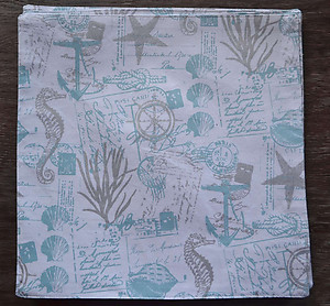 Nicole Miller Nautical Theme Square Cotton Placemats - Silver