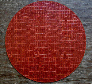 Paprika Red Alligator Pattern Faux Leather Round Placemats