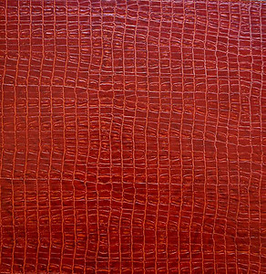 Paprika Red Alligator Pattern Faux Leather Square Placemats