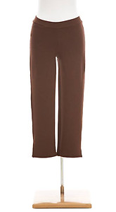 Pine Cone Hill Fit Knit Bamboo Capri Pants, Black & Chocolate